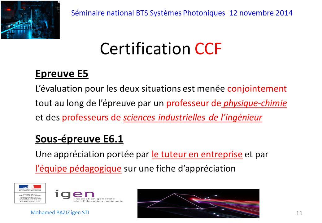 Certification CCF Epreuve E5 Sous-épreuve E6.1