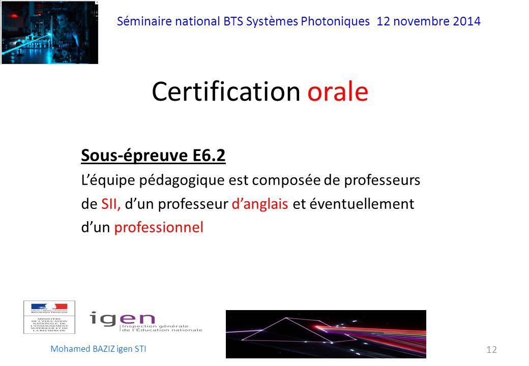 Certification orale Sous-épreuve E6.2