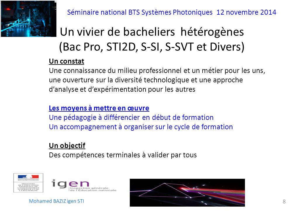 Un vivier de bacheliers hétérogènes (Bac Pro, STI2D, S-SI, S-SVT et Divers)