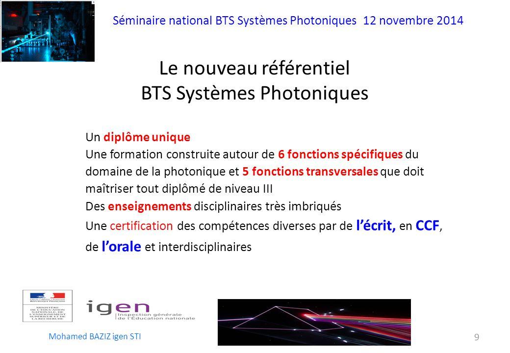 Le nouveau référentiel BTS Systèmes Photoniques