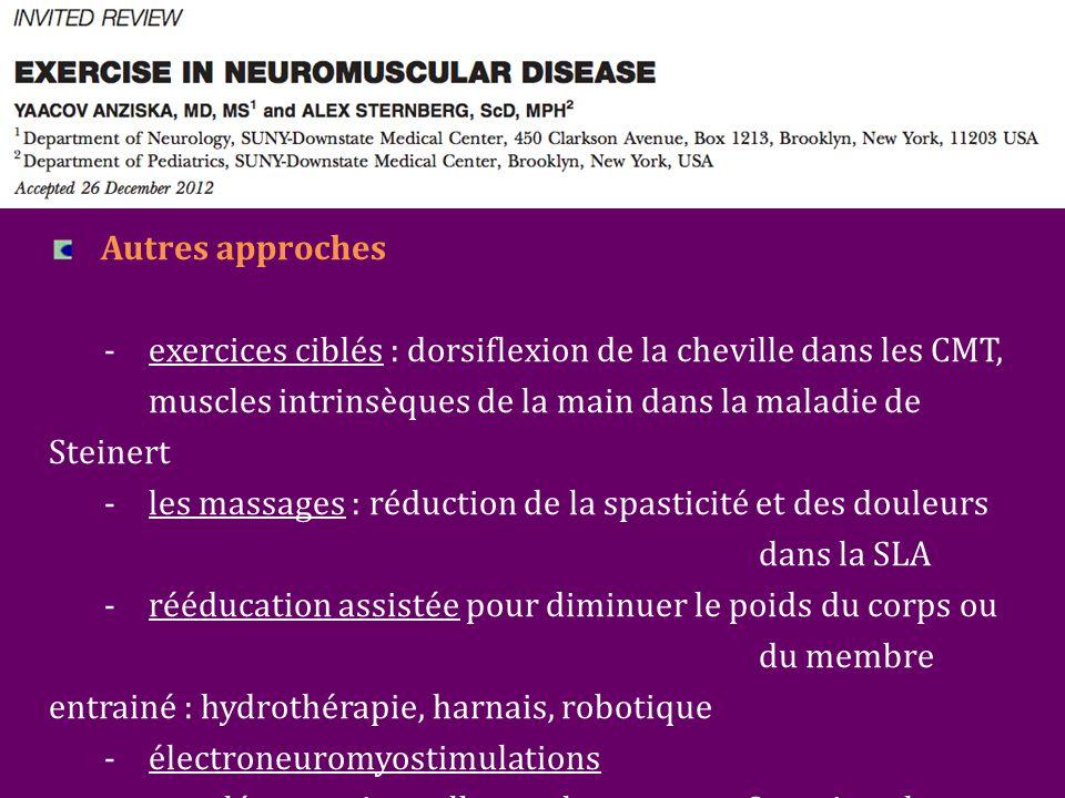 Autres approches - exercices ciblés : dorsiflexion de la cheville dans les CMT, muscles intrinsèques de la main dans la maladie de Steinert - les massages : réduction de la spasticité et des douleurs dans la SLA - rééducation assistée pour diminuer le poids du corps ou du membre entrainé : hydrothérapie, harnais, robotique - électroneuromyostimulations - supplémentation : albuterol, coenzyme Q, antioxydants, créatine