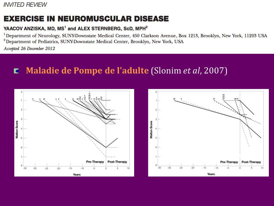 Maladie de Pompe de l'adulte (Slonim et al, 2007)