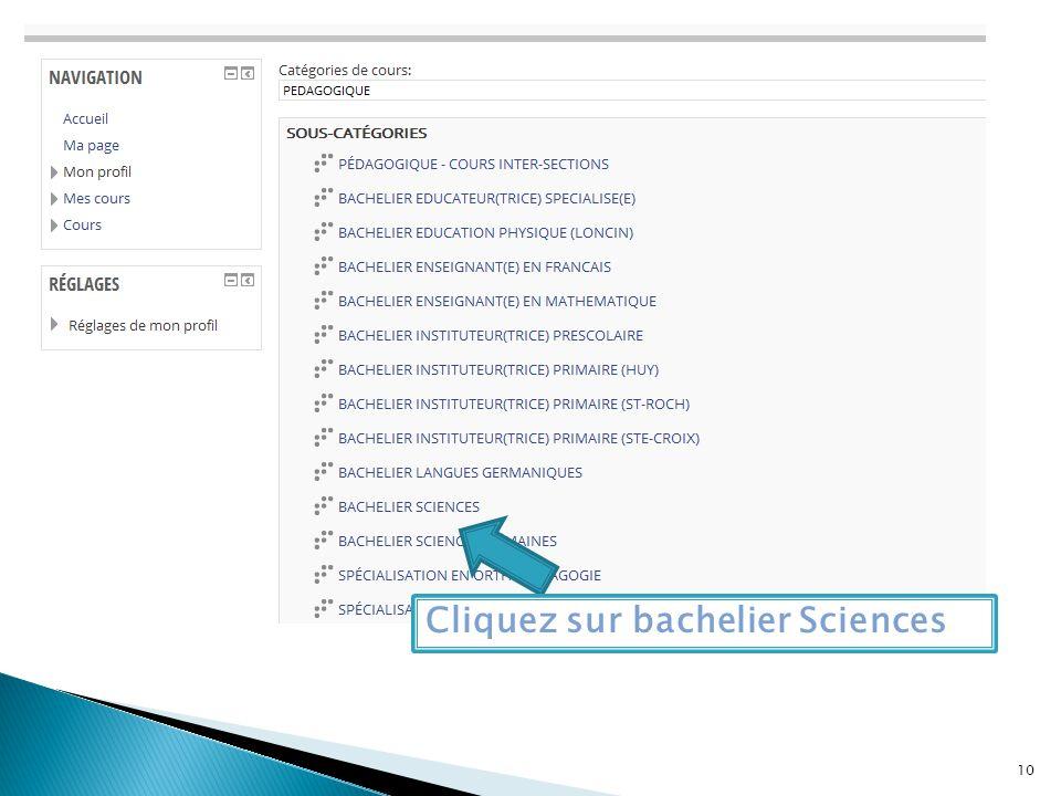 Cliquez sur bachelier Sciences