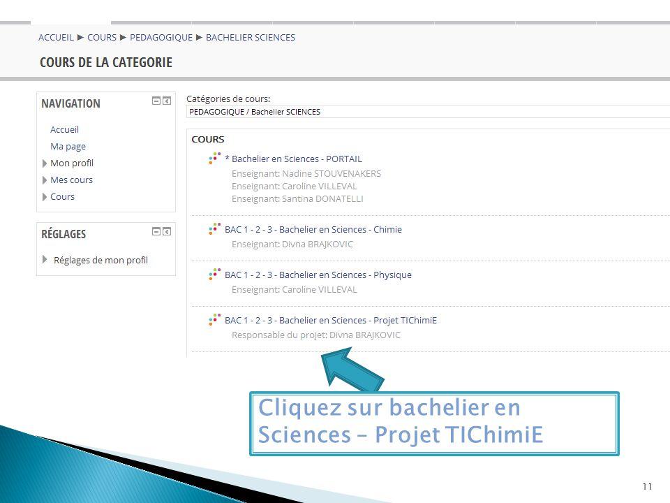 Cliquez sur bachelier en Sciences – Projet TIChimiE