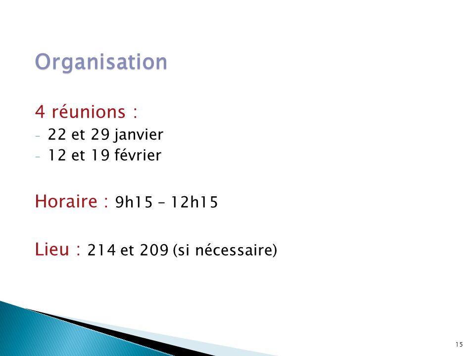 Organisation 4 réunions : Horaire : 9h15 – 12h15