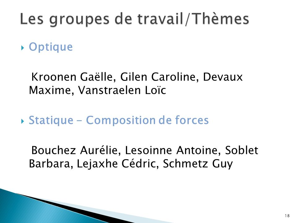 Les groupes de travail/Thèmes