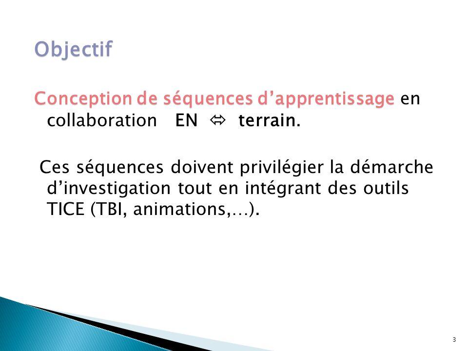 Objectif Conception de séquences d'apprentissage en collaboration EN  terrain.