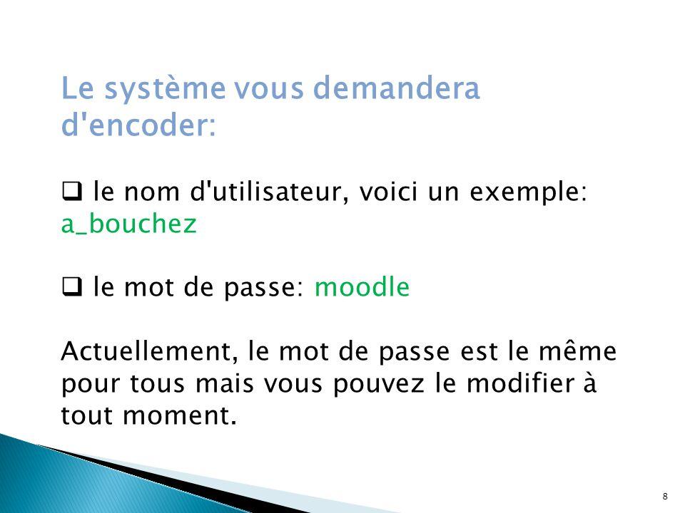 Le système vous demandera d encoder: