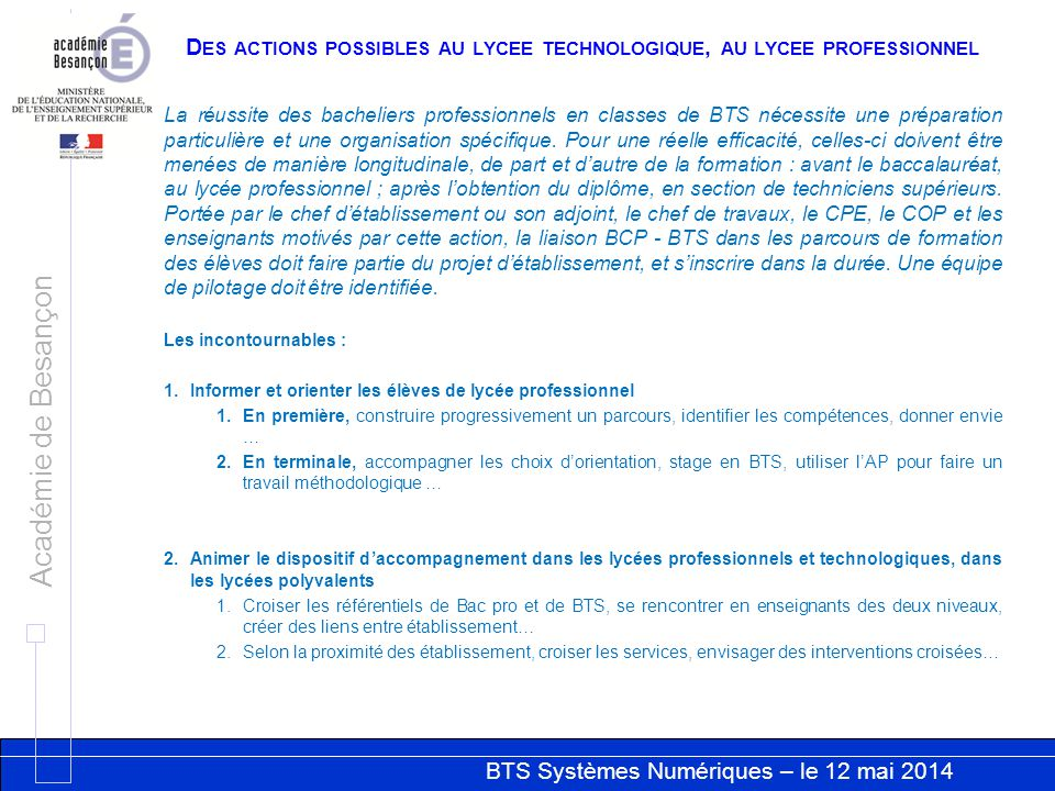 Des actions possibles au lycee technologique, au lycee professionnel