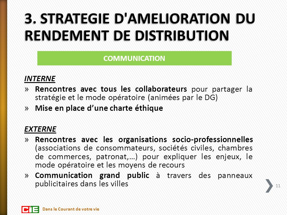 3. STRATEGIE D AMELIORATION DU RENDEMENT DE DISTRIBUTION