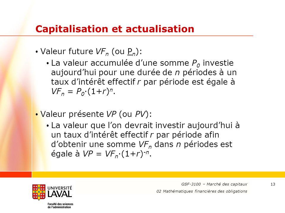 Capitalisation et actualisation