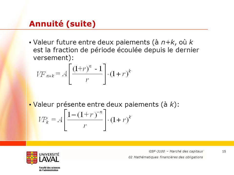 Annuité (suite) Valeur future entre deux paiements (à n+k, où k est la fraction de période écoulée depuis le dernier versement):