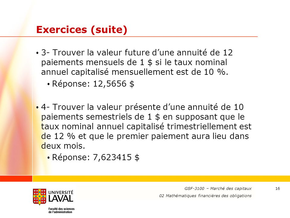 Exercices (suite)