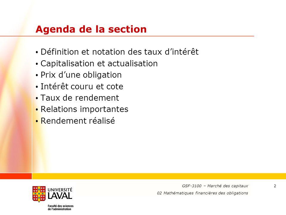 Agenda de la section Définition et notation des taux d'intérêt