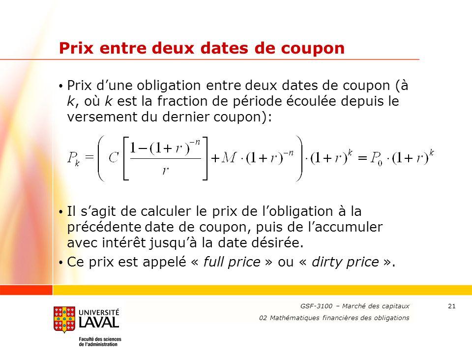 Prix entre deux dates de coupon