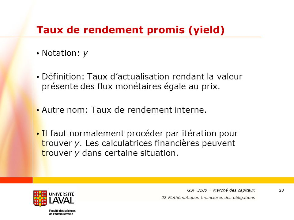 Taux de rendement promis (yield)