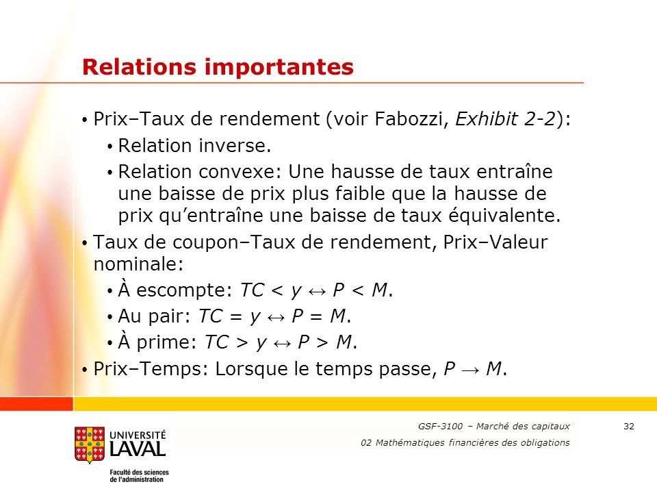 Relations importantes
