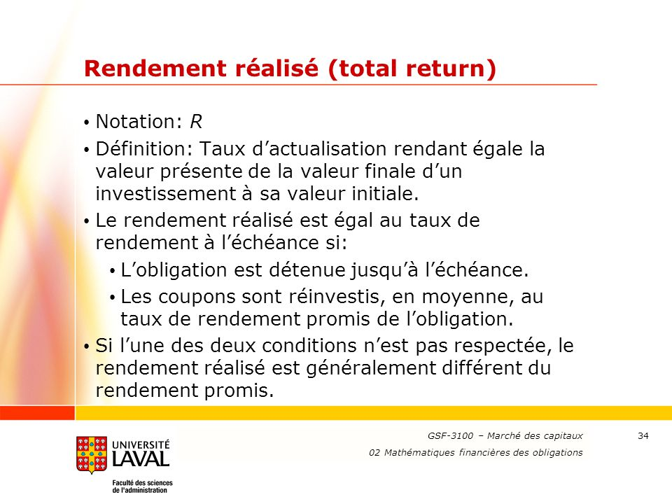 Rendement réalisé (total return)