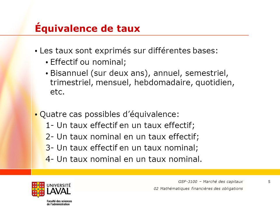 Équivalence de taux Les taux sont exprimés sur différentes bases: