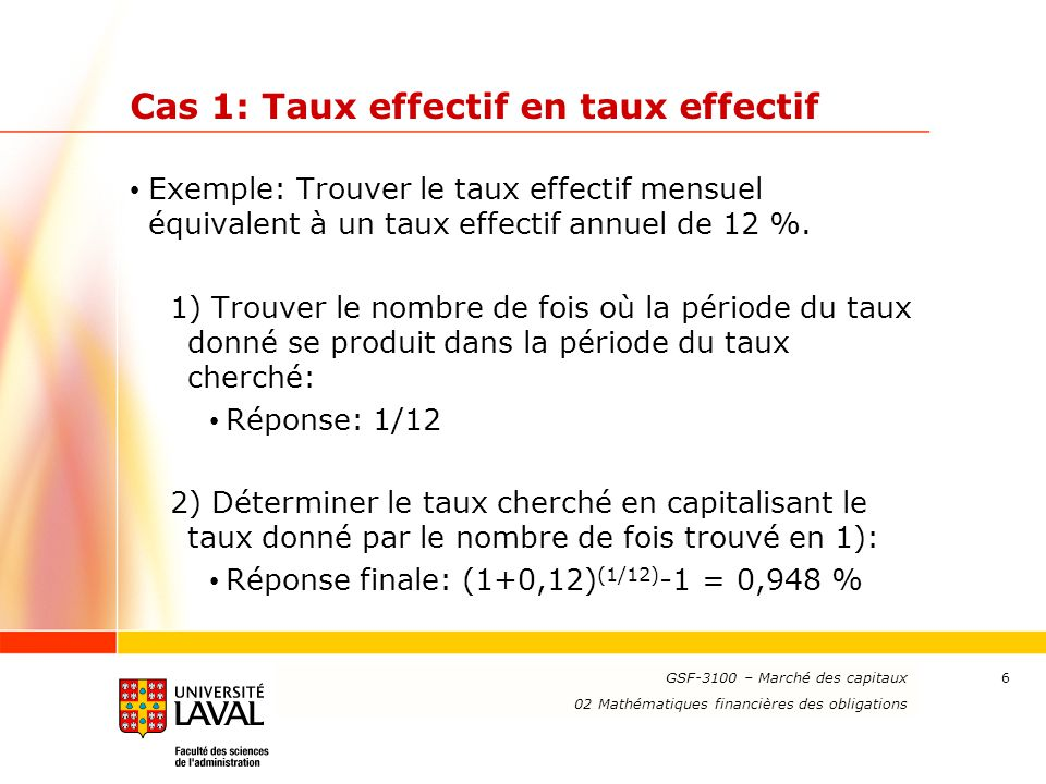 Cas 1: Taux effectif en taux effectif