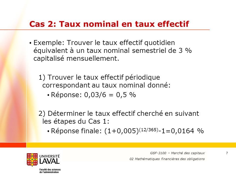 Cas 2: Taux nominal en taux effectif