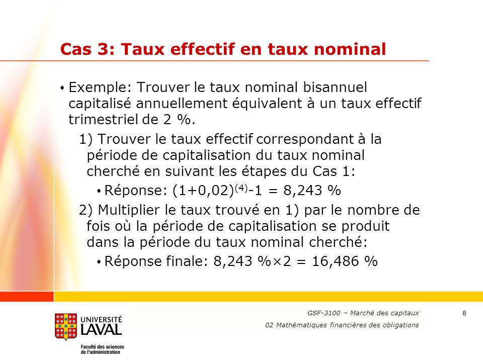Cas 3: Taux effectif en taux nominal