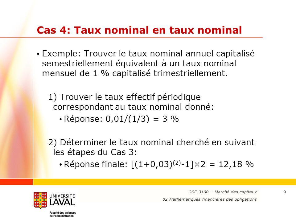 Cas 4: Taux nominal en taux nominal