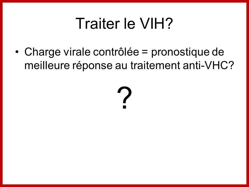 Traiter le VIH. Charge virale contrôlée = pronostique de meilleure réponse au traitement anti-VHC.