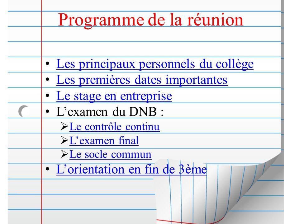 Programme de la réunion