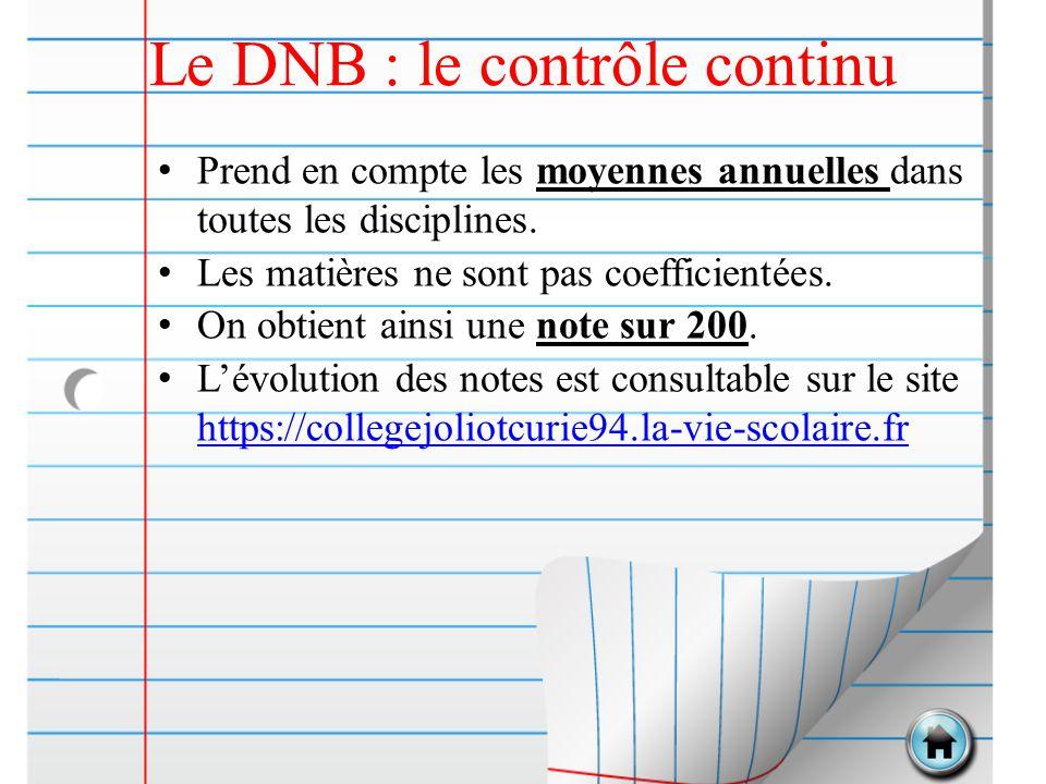 Le DNB : le contrôle continu