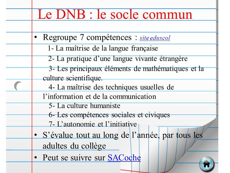 Le DNB : le socle commun