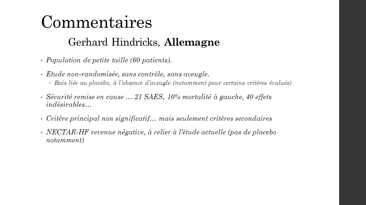 Commentaires Gerhard Hindricks, Allemagne