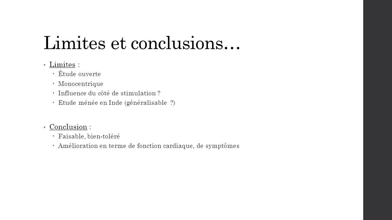 Limites et conclusions…