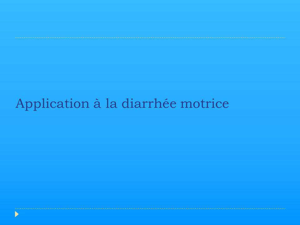 Application à la diarrhée motrice