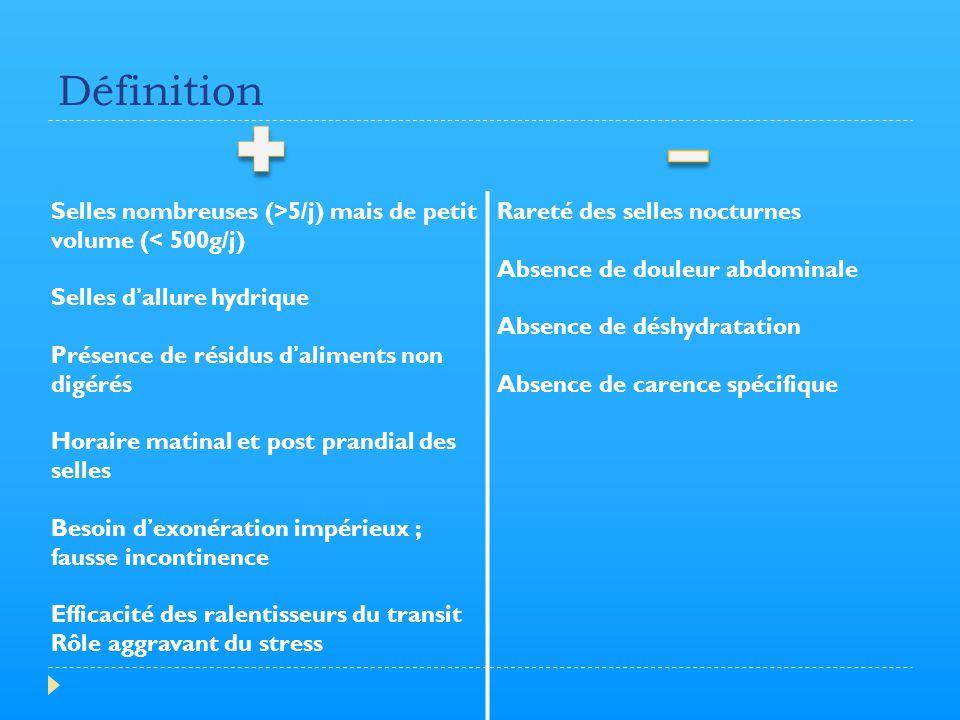 Définition Selles nombreuses (>5/j) mais de petit volume (< 500g/j) Selles d'allure hydrique. Présence de résidus d'aliments non digérés.