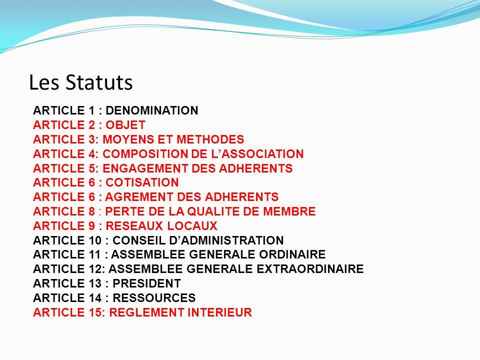 Les Statuts ARTICLE 1 : DENOMINATION ARTICLE 2 : OBJET