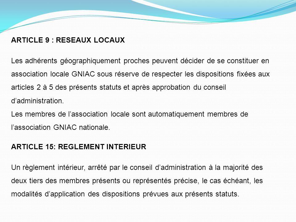 ARTICLE 9 : RESEAUX LOCAUX