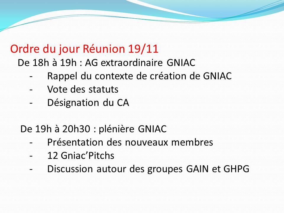 Ordre du jour Réunion 19/11 De 18h à 19h : AG extraordinaire GNIAC
