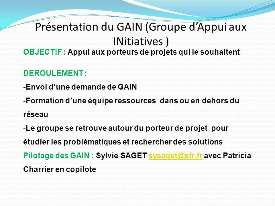 Présentation du GAIN (Groupe d'Appui aux INitiatives )