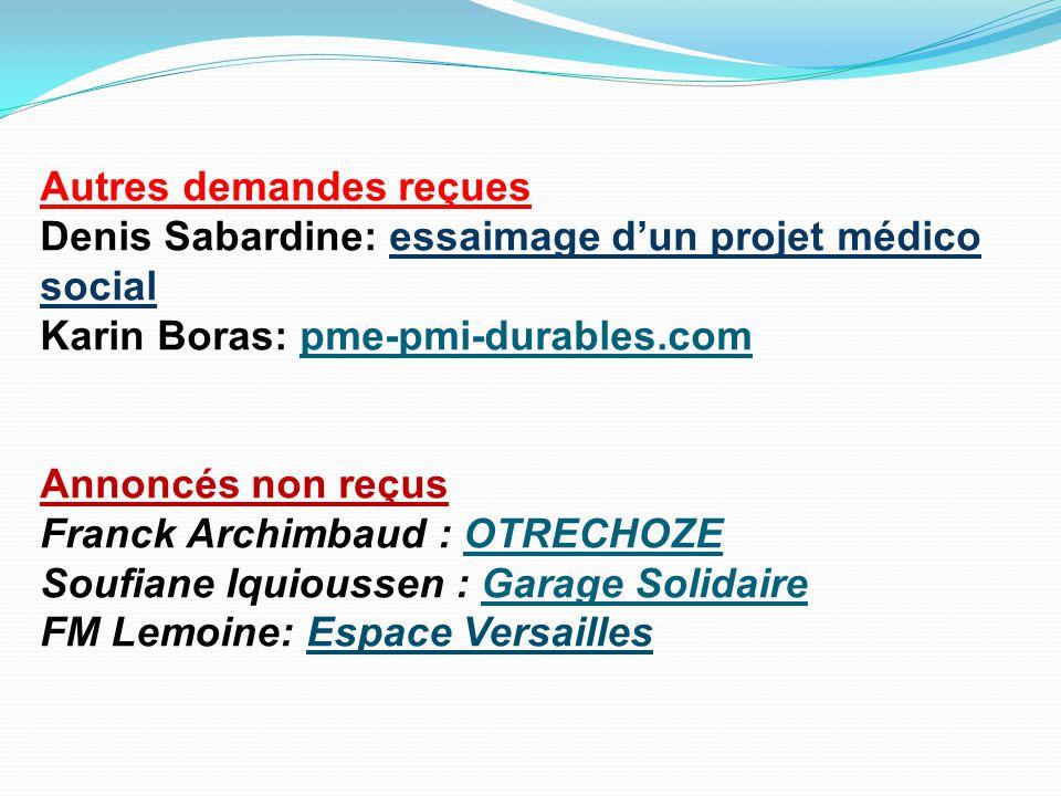 Autres demandes reçues Denis Sabardine: essaimage d'un projet médico social Karin Boras: pme-pmi-durables.com
