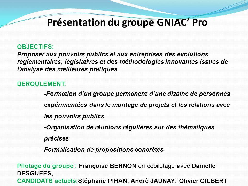Présentation du groupe GNIAC' Pro