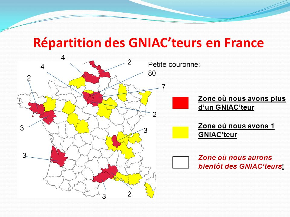 Répartition des GNIAC'teurs en France