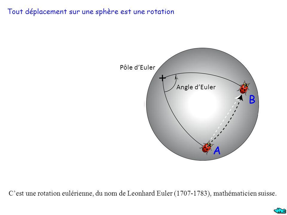 B A Tout déplacement sur une sphère est une rotation Pôle d'Euler