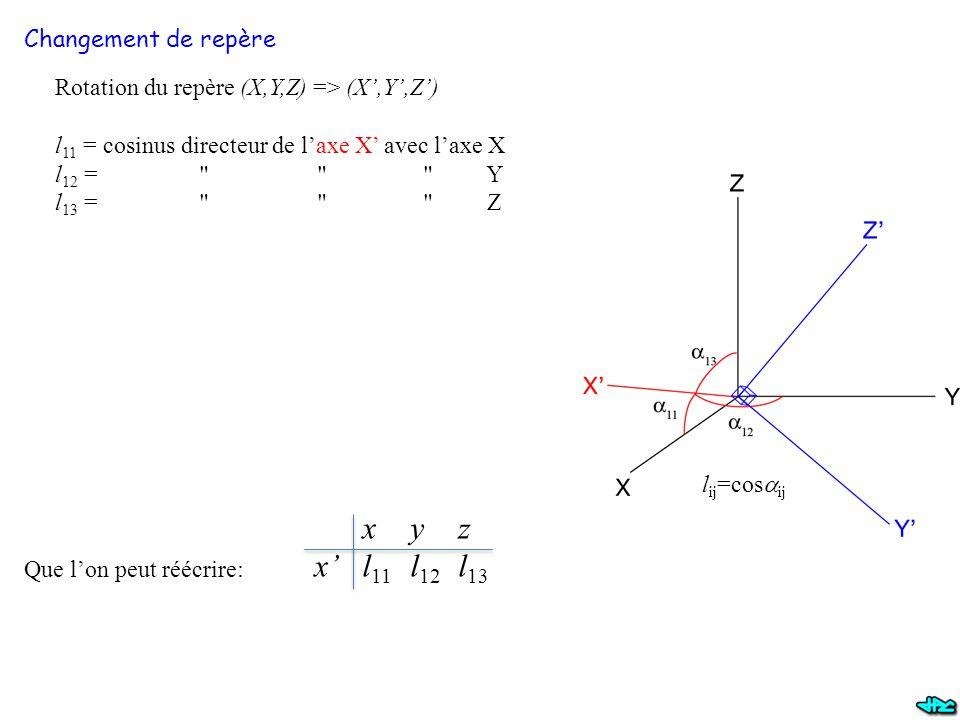 O x y z x' l11 l12 l13 Changement de repère