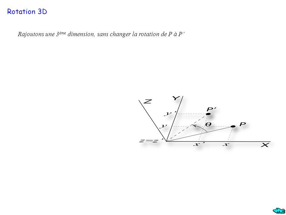 Rotation 3D Rajoutons une 3ème dimension, sans changer la rotation de P à P'