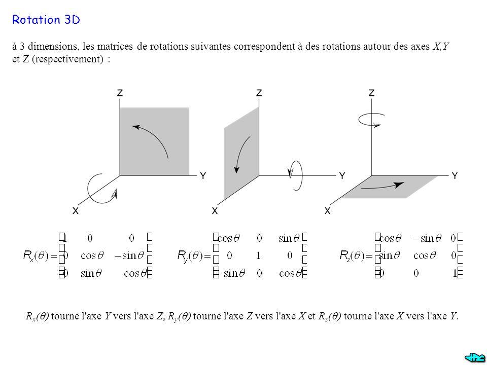 Rotation 3D à 3 dimensions, les matrices de rotations suivantes correspondent à des rotations autour des axes X,Y et Z (respectivement) :