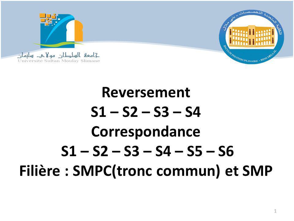 Reversement S1 – S2 – S3 – S4 Correspondance S1 – S2 – S3 – S4 – S5 – S6 Filière : SMPC(tronc commun) et SMP