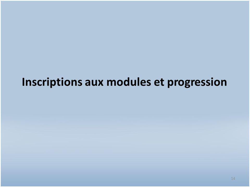 Inscriptions aux modules et progression