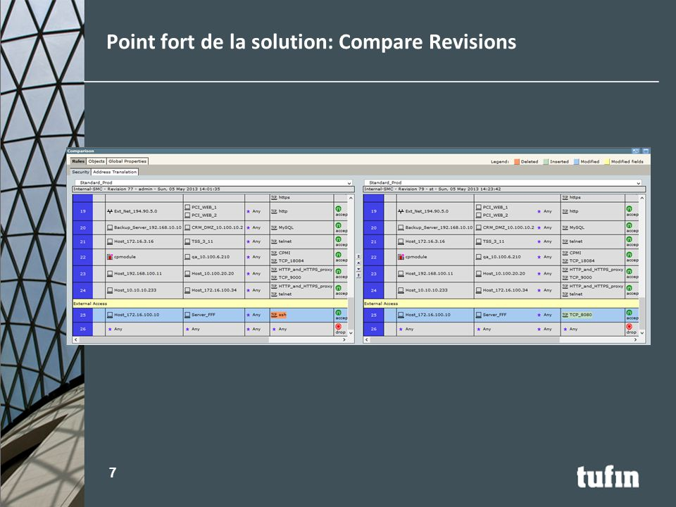 Point fort de la solution: Compare Revisions