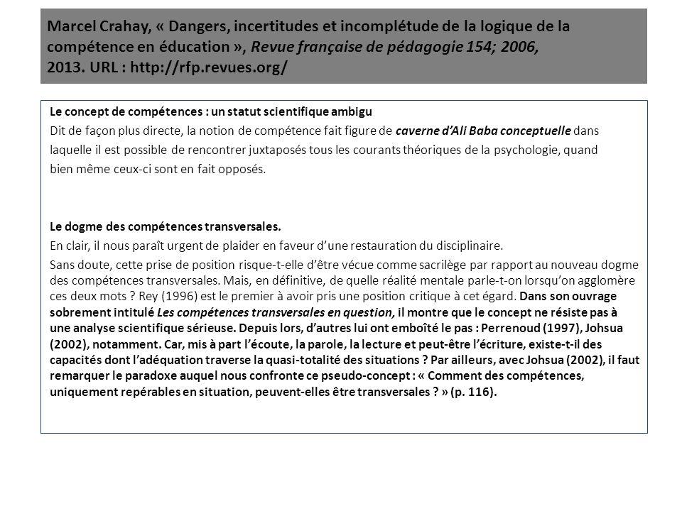Marcel Crahay, « Dangers, incertitudes et incomplétude de la logique de la compétence en éducation », Revue française de pédagogie 154; 2006, 2013. URL : http://rfp.revues.org/